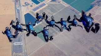 The team, Air Force Rodisiac, took gold in the intermediate 8-way formation skydiving event.