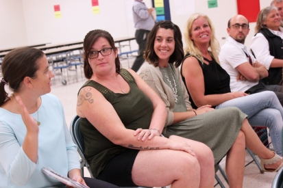 Officers of the Sunset Lake PTO were present at the school board meeting held at their school in October. They are from left to right: Denise Welsh, treasurer; Krystal Black, secretary; Ashley Summerfield, vice president; and Shannon Visser, president.