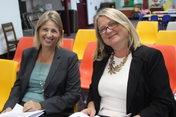 In September, environmental consultant, Lisa Phillips (left), and project manager, Jackie Koney (right), prepare to present the Vicksburg Village Council with an update on the redevelopment of the Mill property (file photo).