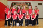 Girls Bowling Kneeling, left to right: Savannah Harring, Malaynah Leach, Sami Trimble, Elle Hedeman, Maryssa Wright. Standing, left to right: Coach James Myers, Jacklyn Kelly, Sky Trimble, Logan Ruch, Samantha Cox, Coach Danielle Kalleward. Not pictured: Natasha Elliott.