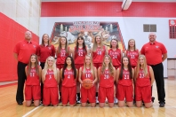Varsity Basketball Kneeling, left to right: Chloe Hatridge, Mia Mulhearn, Sophia Breitenbach, Hailey Burr, Kali Yant, Madeleine Geiger, Hannah Vallier. Standing, left to right: Assistant Coaches Tim Kirby and Emily Lindsay, Lydia Dorscht, Nicola Hosner, Brady Brown, Kelsey Diekman, Abbey Lafler, Coach Jesse Vanabel.