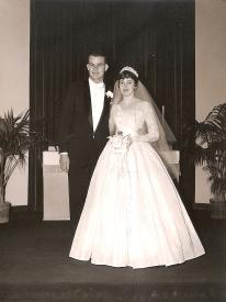 Frank and Bev Freeland on their wedding day.