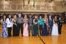 Schoolcraft's Homecoming court is shown from left to right: Audrey Balcom, Cameron VanZile, Karolina Sjoevall, Zach Engle, Kennedy Leighton, Devin O'Bryant, Destiny Betz, Colin Evans, Alisa Ertman, Sam Skinner, Hannah Grochowski, and Dru Matheny.