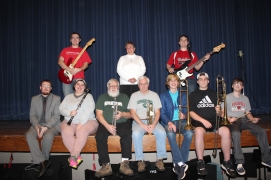 Members of the 2018 pit band who are rarely seen but clearly heard include standing from left: Alex Ensing, Karla Stubblefield, Paxton Earl. Seated from left: Krissy Baker, Steve Gazdag, Craig Rolfe, Jacob Cleaver, Caleb Kosak.