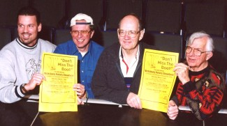 The history of the Showboat is seen in this photograph taken in 2001 of the Rotarian members of the advertising committee from left Joe DeBiak, Jim Shaw, Warren Lawrence and Charlie Kendall.