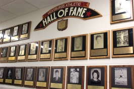 The Vicksburg's Hall of Fame plaques are on the east wall corridor just outside the gymnasium.