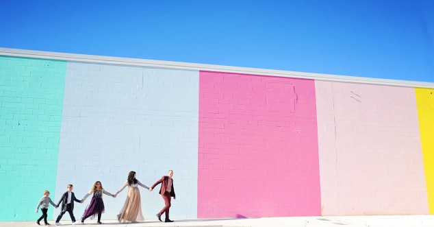 Future courtyard of Wind + James' events space with the Clark family on parade. Photo by Trudy Holtz Photography.