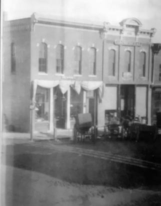 Buildings at 101 and 103 East Prairie in Vicksburg as they appeared in 1892.