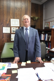 Vicksburg Superintendent of Schools Charlie Glaes in his Administration Building office.