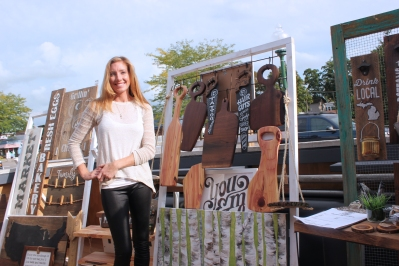 Heather Flach exhibits her work at the Dek in the 2016 Art Stroll.