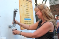 Evie March does the honors while drawing a draft beer for Taste of Vicksburg in 2016.