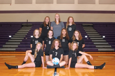 Freshman Volleyball Front row, from left: Allie Walther, Olivia Pavlak, Izzy Wheeler. Middle row, from left: Elsa Peterson, Kerstin Rhoades, Kia Brooks, Skyler McCormick. Back row, from left: McKenzie Miller, Coach Malory Garza, Morgan Beehler.