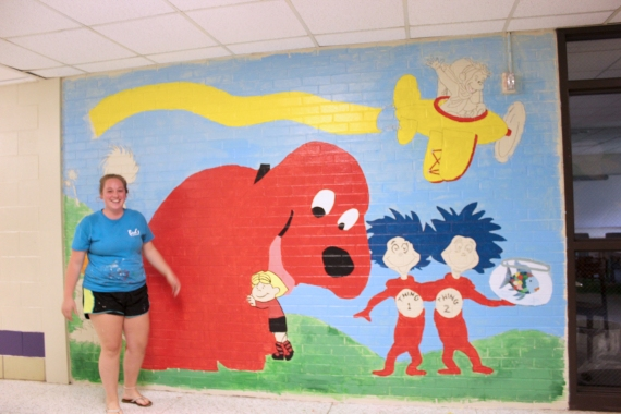 Murals painted by volunteers in the Schoolcraft elementary building hallways brighten up the first day back at school for students.