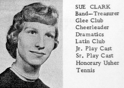 Sue (Clark) Moore's Senior picture from the Vicksburg High School Yearbook.