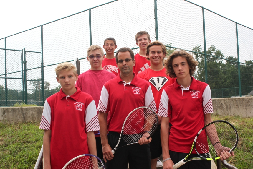 JV Tennis Front row, from left:Gage Bainter, Coach Eric Flickinger, Drake Steele. Middle row, from left: Caleb Dushong, Ben Dilly. Back row, from left:Gage Stenger,Thomas Harsha.