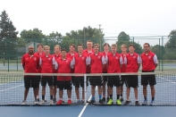 Varsity Tennis Front row, from left: Coach Warner (Dr.O) Offord, Zach Myers, David Rutt, Ayden Flickinger, Jacob Henderson, Corbin Wallace, Seth Crabtree, Coach Eric Flickinger. Back row, from left: Garrett Patnoude, Kevin Veld, Sam Gearig, Jonathan Perkins, Ricky Laham, Andrew Reno.