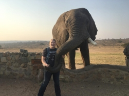 Making friends with an elephant was part of Brooklyn Joslyn's trip to South Africa.
