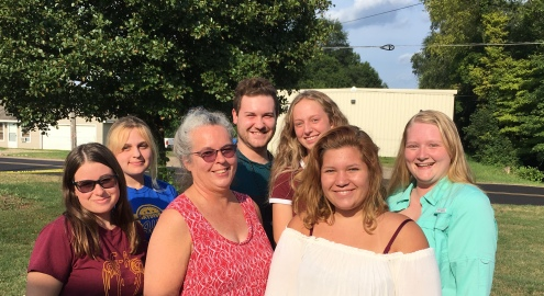 Vicksburg students who departed for South Africa: left to right: Chloe O'Neil, Summer Painter, Dr. Noreen Heikes, James Porter, Hannah Flickinger, Kaitlyn Spellicy and Brooklyn Joslyn.