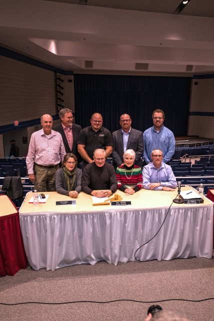 Vicksburg village council members seated from left to right: Julie Merrill, Bill Adams, Gail Reisterer, James Earl. Standing left to right: Ron Smith, Tim Frisbie, Colin Bailey. Village Manager Jim Mallery, Planning Director Bobby Durkee.