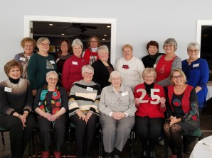 The current members present at the Garden Club's anniversary celebration include from left to right seated: Peg Parsons, Gloria Butler, Teri Clark, Bonnie Holmes, Joyce Green, Nancy Draayer. Standing left to right: Carolyn Hippen, Ruby Smith, Cristina Dury, Kay Anderson, Nancy Papworth, Syd Bastos, Nancy Wedel, Patt Brumleve, Shirley Heath, Nancy Smoker.