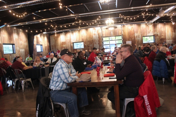 Veterans were celebrated before their Honors Flight to Washington D.C. at the Rim & Rail.