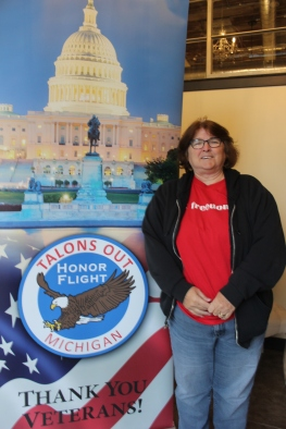 """Linda Langevin of Vicksburg has been a volunteer for many years with Talons Out according to Bobbie Bradley. """"She has been a core volunteer since our first flight. She has been assisting on flight day, at meet and greet, with wheelchair coordination, administrative tasks and at many fundraisers. Linda has been a steadfast and committed volunteer for our veterans."""""""