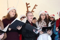 The Vicksburg High School choir members caroled up and down Main Street in 2017. This year they will be featured in the tent at Oswalt Park to lead community caroling after the tree lighting ceremony.
