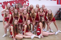 Competitive Cheer: Seated, from left: Dawnara Rollins, Tanyr Fruehauf, Eden Bowling. Second row with hands on legs, from left: Mackenzie Lyp, Cashlee Price, Michelle Blevins, Alyssa Ott, Emily Stanley, Brinidie Proxmire. Middle row, from left: Paris Price, Emma Moss, Frances Howard, Allyson Brewer, Rileigh Klutts. Back row, from left: Makena Pillars, Kaitlyn Boll, Makenzie Stacey, Alyssa Kaye, Courtney Zinsmaster, Alexis Schneider. Not pictured: Head Coach Stacy Childs, Assistant coaches Kasey Tassell and Teri Johnston.
