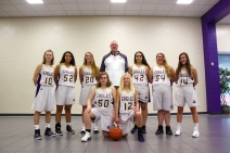 JV Basketball: Kneeling, from left: April Vosburg, Bailee Rhoda. Standing, from left: Elsa Peterson, Kia Brooks, Maddy Ingle, Head Coach Greg Kragt, Makenna Ballentine, Faith Westfall, Shayla Strake.