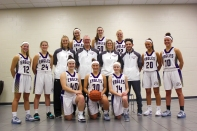 Varsity Basketball: Kneeling, from left: Katie Parker, Paige Reid, Allie Walther. Middle row, standing, from left: Savannah Seath, Adrienne Rosey, Assistant Coach Kristin McNally, Head Coach Steve Kulczyk, Assistant Coach Shelly Cochran, Assistant Coach Max Kulczyk, Chloe Outman, Gabi Saxman. Standing in back, from left: Makenzie Miller, Anna Schuppel, Olivia Ingle.