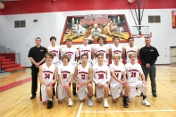 JV Basketball: Kneeling, from left: Levi Thomas, Levi Root, Cole Gless, Timmy Sarvari, Gage Bainter, Zach Myers. Standing, from left: Coach Zach Kasper, Sean Kelly, Parker Wilson, Ben Earl, Drake Steele, Toby Stock, Stephen McCowen, Assistant Coach Kevin Wilson.