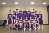 JV Basketball: Front row, from left: Jimmy Downs, Carson Flynn, Nolan Strake, Jaryd Widup, Jacob Troyer. Middle row, from left: Rickey Peters, Asher Puhalski, Coach Tom Sportel, Coach Joe Prior, Head Coach Cory DeGroote, Coach Aaron Beery, Skyler Thompson, Jonny Abel. Back row, from left: Jake Olvitt, Ty Rykse, Harmon DeVries, Connor Webb, Ian Boles.