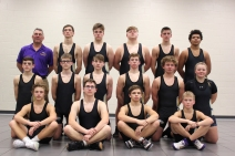 Varsity Wrestling: Front row, from left:  Hunter Martens, Sam Bell, Gary Cramer, Lane DeLoof. Middle row, from left:  Caden Sukich, Riley Cochran, Caleb Niewiadomski, Brandon Newland, Mark Fox, Silver Fox. Back row, from left: Head Coach Rob Ling, Brady Gillaspie, Garren Phillips, River Fox, Canaan Pavey, Josh Stokes.