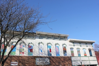 Things are looking up in Vicksburg. Young people in the Vicksburg school district and the Cultural Arts Center did the art work that appears in the second-floor windows of three buildings at 106, 108 and 110 S. Main Street.