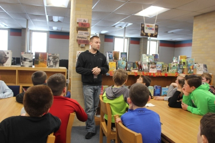 Matt Wagner was the center of attention when he appeared to answer questions about his life on the road with Diavolo. The fifth graders later went to see the performance at Miller Auditorium through an Education for the Arts grant that sponsored the matinee for areawide students.