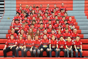 Trap Team First row, left to right: Michael Hill, Cohen Balle, Reese Brush, Gaige Patnoude, Blake Sutherland, Peyton Reeder, Jon Rose, Brady Young, Greyson Young. Second row: Gavin Schiedel, Tyler Richardson, Scarlette Milanowski, Avery Sands, Donny Kinney, Alex Smith, Reed Tassell, Aiden Hawkins, Kyle Wiessner. Third row: Owen Moberley, Justin Plankenhorn, Chase Willcutt, Jager Luegge, Charlie Emmerich, Nathan Willcutt. Fourth row: Walter Zablocki, Anthony Knowles, Drew Geiger, Eli Welch, Jackson Bowles, Jonah Schmidt, Josiah McClelland. Fifth row: David Standish, Lexi Rose, Nathan Torres, Eric Bugg, Zackary Thomas, Keagen Crist, Kieren Garrison. Sixth row: JP Fritz, Ethan Emmerich, Jeffrey Hoagg, Sami Fritz, Haven Haring, Elliot Pierce, Glen Rhyner, Trevor Young. Seventh row: Coach Amy Moberley, Ben Welch, Travis Robertson, Ayden Flickinger, Cody Robinson, Kyle Campbell. Eighth row: Coach Michael Hill, Brendan Durham, Andrew Pratt, Lucas Cannizzaro, Eddie Goodwin. Ninth row: Coaches Kyle Emmerich, Cindy Callahan, Thad Reeder, Mike Trepanier, Matt Luegge, Kevin Borden, Kip Young. Not pictured: Blake Rosel, Jackson Bowles, Tyler Fenwick, Jordan Gorsline, Katara Rosel, Molly Young, Olivia Cannizzaro, Madison Foster, Caleb Kosak, Zachary West and coaches Sarah Dyer, Todd White, Bill Zeman.