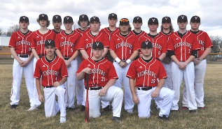 Varsity Baseball Front row, left to right: Chase Myers, Nick Swope, Brendan Monroe. Second row: Levi Root, Tyler DeVries, David Benedict, Wyatt Bowling, Mike Tultz, Carter Ford. Third row: Joey McCowen, Jacob Conklin, Breckin Burdette, Tyler Vallier, Parker Wilson, Austin Ziegler, Colin Klinger.