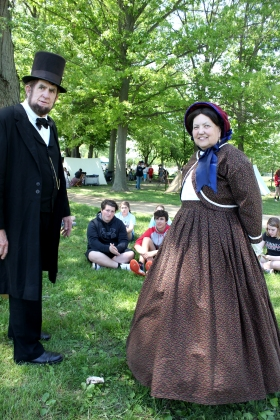 Impersonators of Abe and Mary Lincoln attend the Vicksburg 8th grade Civil War all-day event in the Historic Village each year.