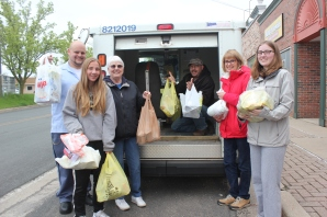 South County Community Services volunteers help sort donated food picked up by local letter carriers from the three post offices Climax, Schoolcraft and Vicksburg.