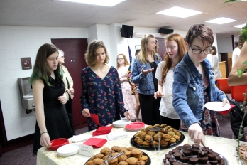 Vicksburg's graduating class of 2019 girls were honored at a morning tea. The boys were given the same time off from classes with a movie showing in the Performing Arts Center.