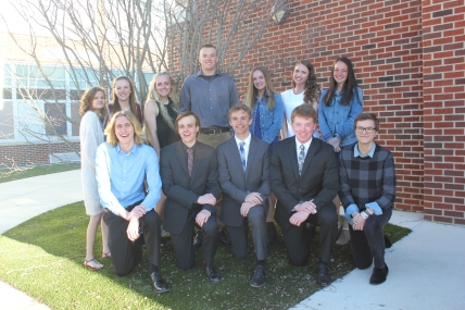 Front row from left: Jacob Cleaver, Nicholas Armitage, Casey Hall, Kyle Kelly, Vic Simmons. Second row: Rachel Dick, Leah Pierce, Mia Mulhearn, Tyler Vallier, Madeline Ritter, Alexis Taylor, Madeleine Geiger (Not pictured - Maia Fleck).