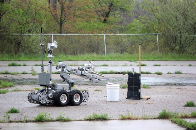 The Kalamazoo Department of Public Service brought their robot to search for a pretend bomb in the Mill.