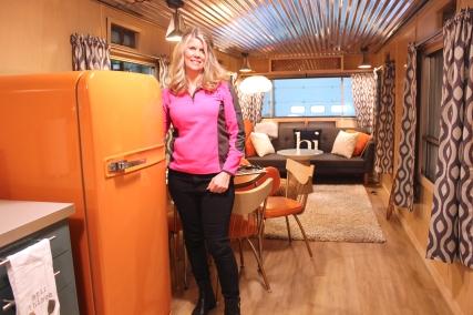 Sondra Phillips outside and inside her revamped vintage travel trailer.