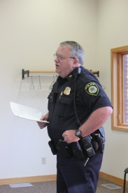 Police Chief Bryan Campbell gives his report to the Schoolcraft Village Council.