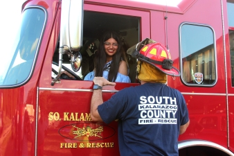 Jamila attended the Vicksburg Village Council meeting in July and got to sit in the cab of the fire engine that was on display.