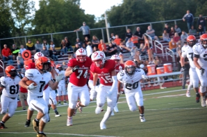 Lucas Hatridge closes in on a Sturgis runner for the tackle.