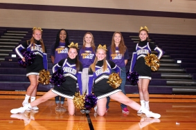 Cheer from left, front row: Kerstin Rhoades, Seyanna Smith. Back row: Alana Reed, Middle School Coach Kayla Humphries, Varsity Coach Ashlie McEwen, Assistant Coach Taylor Brenner, McKenna Olivarez. Not pictured: Morgan Pace.