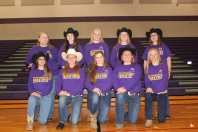 Equestrian from left, front row: Katelyn Delaney, Alana Reed, Morgan Hamelink, Faith Westfall, Mariah Flynn. Back row: Coach Amy Stahl, Mikaylen Svoboda, Brooklyn Hamelink, Annabelle Ledlow, Coach Myra Delaney. Not pictured: Head Coach Christine Rosey.