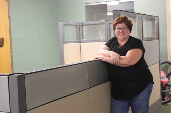 Kathy Sparrow-Dinzik, program director for Turning Leaf and a lifelong Vicksburg resident, stands beside what was once the nursing desk in the Bronson Vicksburg Hospital.