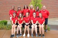 Golf from left, seated: Katie Bell, Sophie Evans, Megan Bresnahan, Haylee Goodall, Cashlee Price. Standing: Team Mom Jackie Bell, Sarah Butcher, Maddie Aguillon, Danielle Diekman, Zoe Nadrasik, Coach Mike Garvey.